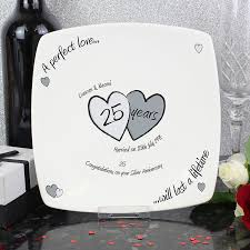 25th wedding anniversary plates personalised silver anniversary plate buy from prezzybox