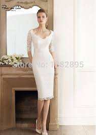 simple knee length wedding dresses newest style simple lace cap sleeve v neck half sleeve knee length