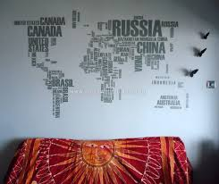 World Map Wall Sticker by World Map With Country Names Wall Sticker Moonwallstickers Com
