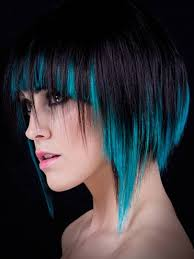 short hair with blue highlights hair and model