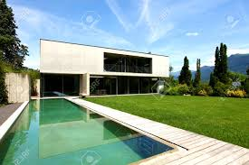 interior stunning modern house pool and garden stock photo