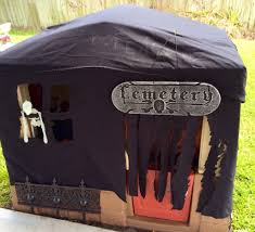 halloween table cover turn a kids outdoor playhouse into a haunted house using a black