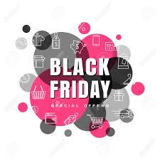 black friday card with line icons and color shape decorations