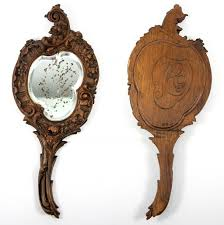 antique carved black forest wood framed mirror wall