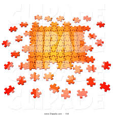 clip art of a scattered 3d orange puzzle pieces interlocking on
