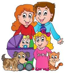 coloring book family theme royalty free cliparts vectors and