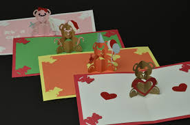 teddy bear pop up card valentines day birthday christmas baby