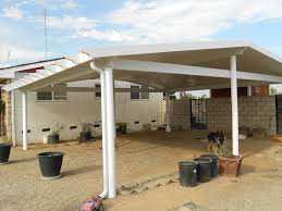 decorating double carport canopy with white metal frame for