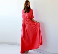 coral bridesmaid dress with bat sleeves