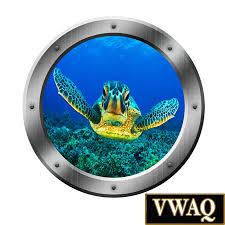 sea turtle porthole wall decal ocean view 3d window sticker zoom