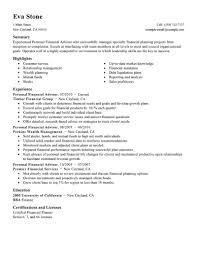 Resume For Finance Jobs by Financial Advisor Job Description Resume Resume For Your Job