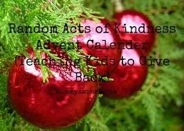 random acts of kindness advent calendar teaching kids to give