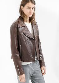 bike jackets for women mango leather biker jacket in brown lyst