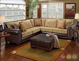 furniture u shaped sectional sofa brown leather and suede