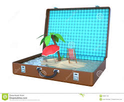 Small Beach Chair Mini Island Inside Suitcase 3d Stock Illustration Image 52867705