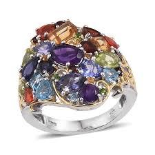 gemstone rings silver images Multi gemstone 14k yg and platinum over sterling silver openwork jpg