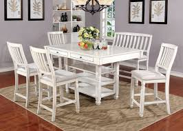 kaliyah transitional style antique white finish 6pc counter height kaliyah transitional style antique white finish 6pc counter height dining table set w shelves storage drawers in table