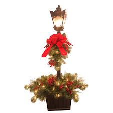 shop ge 48 in lighted lamp post indoor christmas decoration at