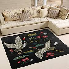 Japanese Area Rug Alaza Crane Flying Cloud Flower Japanese Area Rug Rugs