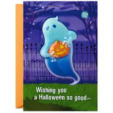 ghosts scary good halloween sound card with light greeting cards