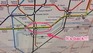 London Metro Map by Unmarked Underground Station On Bakerloo Line At Embankment