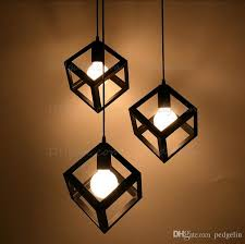 Country Style Pendant Lights Vintage American Country Style Small Black Cube Cage Retro Pendant