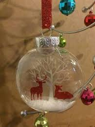 4 glass ornament balls with floating tree inside vinyl