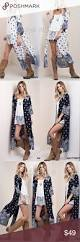 Mix And Chic by Duster Print Cardigan Open Front Paisley Boho Slit Boutique