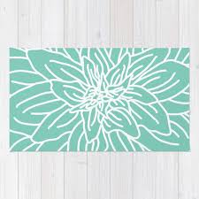 Modern Floral Area Rugs Mint Green Abstract Flower Area Rug Modern Flower Rug