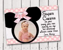 minnie mouse thank you cards baby minnie mouse 1st birthday thank you card