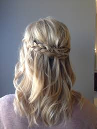 hairstyles for medium length hair wedding wavy blonde curls with loose waterfall braid perfect summer style