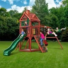 cedar swing set wooden swingset backyard wood playground kids