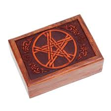 engraved box wooden box pentacle engraved vibrations