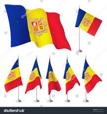 Crossed Flag Pins Andorra Vector Flags Set Flags Metal Stock Vector 67476700