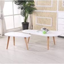 White Modern Coffee Tables by Us Pride Furniture Amelia Modern Free Form Wood 2 Piece Mid