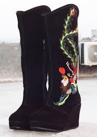 s wedge boots splm s wedge knee high embroidered boots