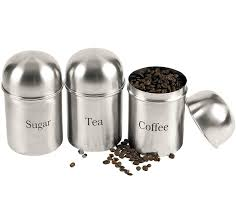 3pc canisters coffee sugar tea stainless steel storage jars pot