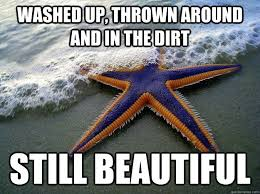 Starfish Meme - washed up thrown around and in the dirt still beautiful