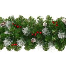 frosted garland with pine cones berries 9ft co