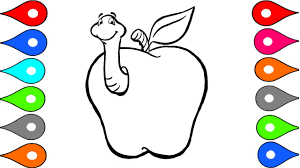 how to draw apple coloring pages fruits learn drawing art