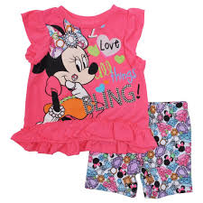 Minnie Mouse Clothes For Toddlers Toddler U0026 Baby Girls Minnie Mouse Bling 2pc Shorts Set