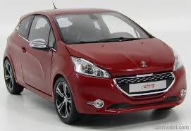 peugeot 208 red norev 184700 scale 1 18 peugeot 208 gti 2 door 2013 rubis red met