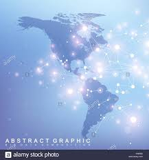 North And South America Map by Geometric Graphic Background Communication With North And South