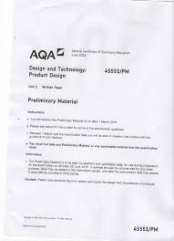 preliminary material for aqa product design exam 2015 the
