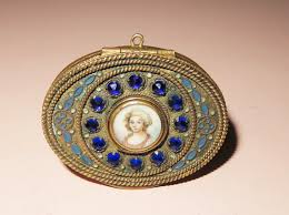 Gilt Bonze Enameled Portrait Antique Painted Portrait Miniature Jeweled Enameled