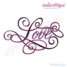 all products love calligraphy script embroidery design large