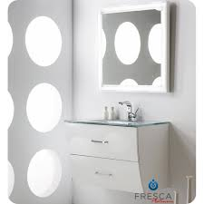 wave 32 inch glossy white modern bathroom vanity wall mounted
