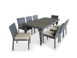 Patio Dining Set by 9 Piece Wicker Outdoor Patio Dining Set Gray Wicker Beige