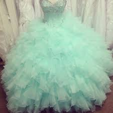 pretty mint ball gown tulle beaded quinceanera dresses