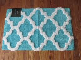 Blue Quatrefoil Rug Nwt Cynthia Rowley Turquoise Blue Quatrefoil Tile Print Cotton Tub